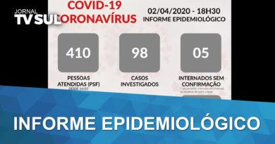 Dados informe epidemiológico divulgado pela prefeitura