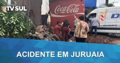 Caminhão invade supermercado em Juruaia (MG) e deixa pessoas feridas
